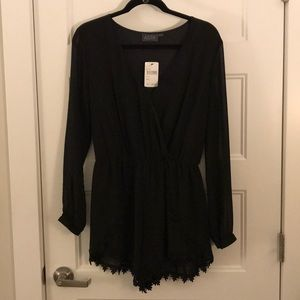 NWT Black ASTR Romper with Lace Trim